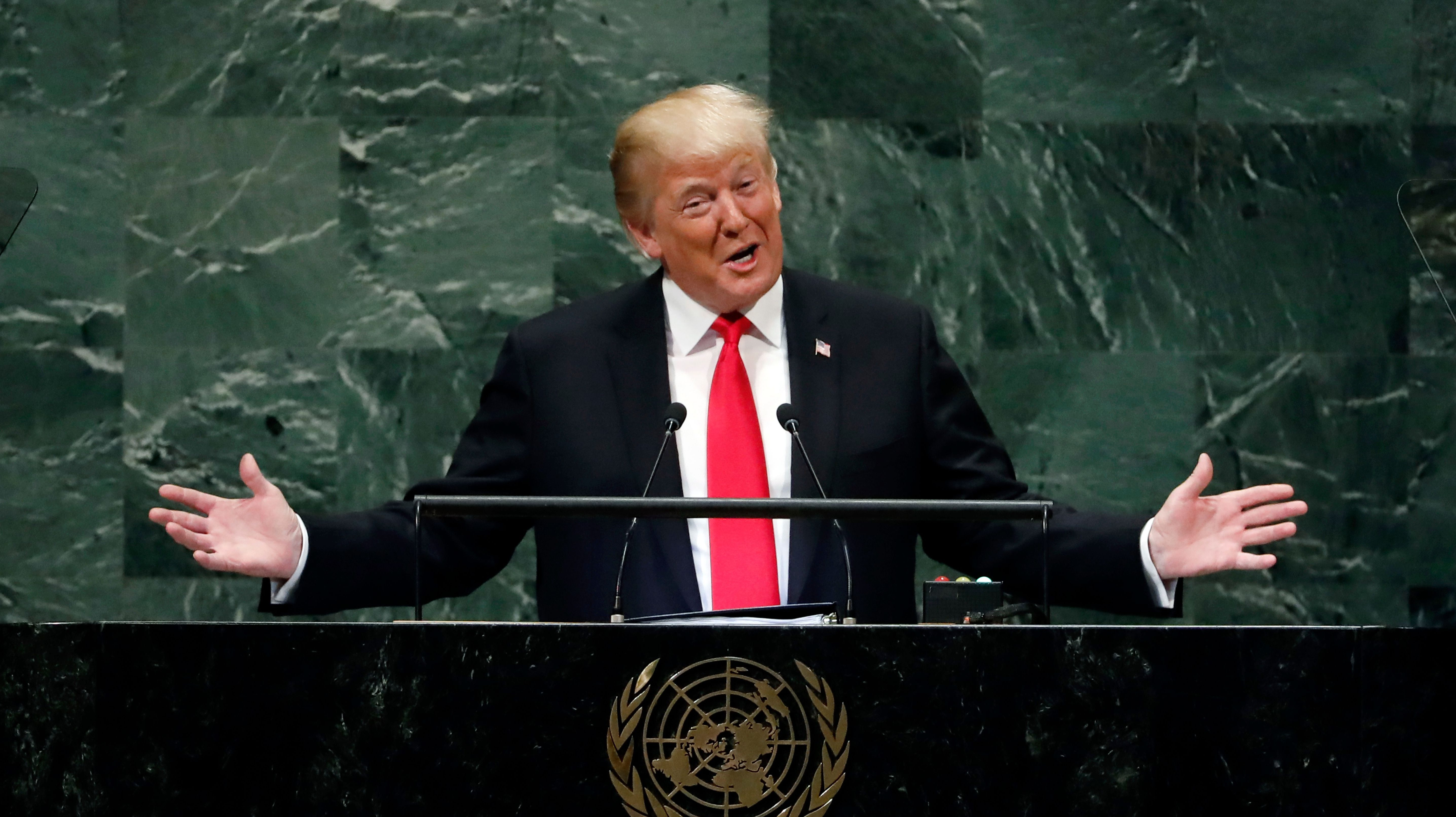 President Donald Trump addresses the 73rd session of the United Nations General Assembly, at U.N. headquarters