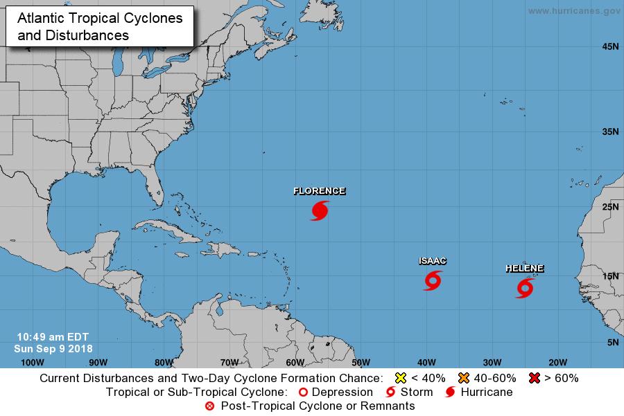 Atlantic tropical storms Florence, Helene, Isaac