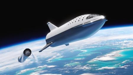 A rendering of the BFR and its booster rocket created by SpaceX.