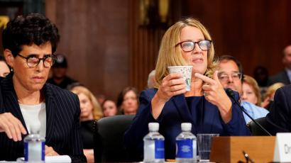 Christine Blasey Ford testifies in front of the Senate Judiciary Committee confirmation hearing.