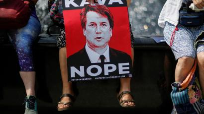 People take part in a protest against Supreme Court nominee Brett Kavanaugh