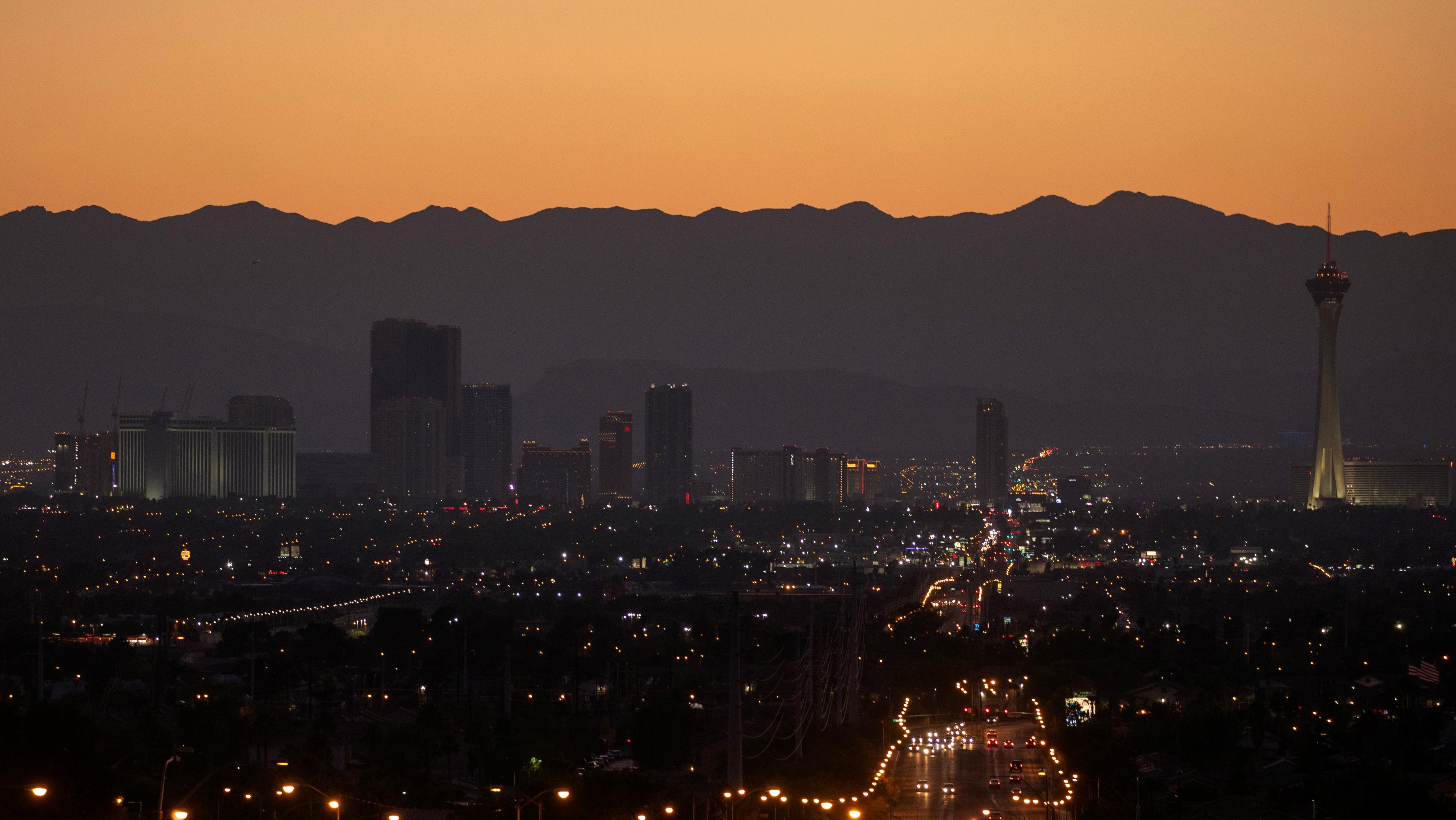 Las Vegas skyline at night.