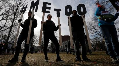 """Demonstrators spell out """"#METOO"""" during the local second annual Women's March in Cambridge, Massachusetts, U.S.,"""