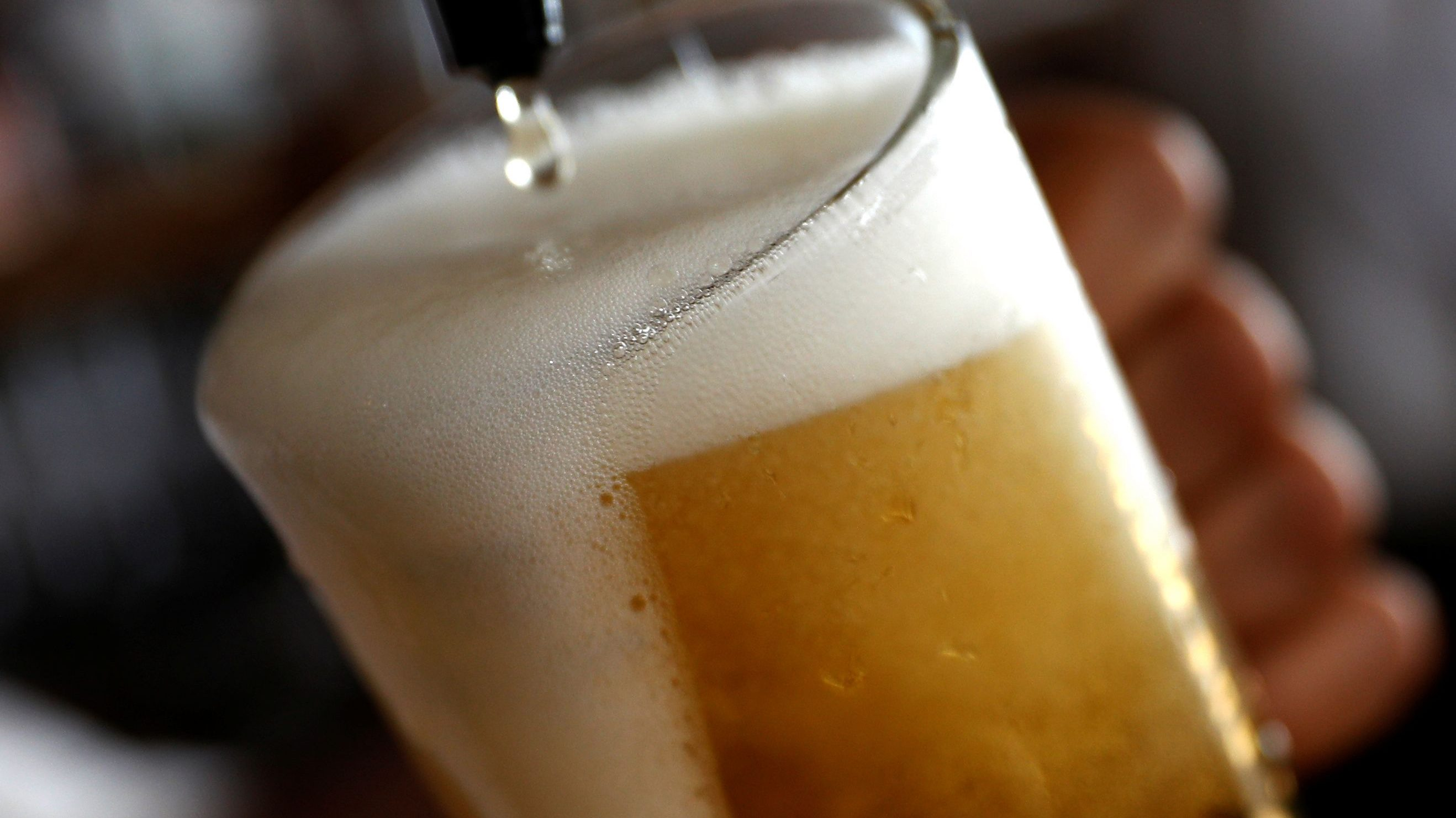 A pint of beer is poured into a glass