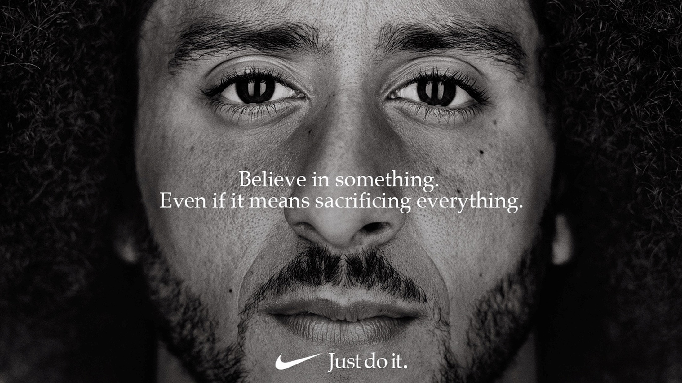 """Former San Francisco quarterback Colin Kaepernick appears as a face of Nike Inc advertisement marking the 30th anniversary of its """"Just Do It"""" slogan in this image released by Nike in Beaverton, Oregon, U.S., September 4, 2018. Courtesy Nike/Handout via REUTERS ATTENTION EDITORS - THIS IMAGE HAS BEEN SUPPLIED BY A THIRD PARTY. NO RESALES. NO ARCHIVES. MANDATORY CREDIT. - RC19C7495600"""