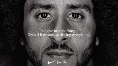"Former San Francisco quarterback Colin Kaepernick appears as a face of Nike Inc advertisement marking the 30th anniversary of its ""Just Do It"" slogan in this image released by Nike in Beaverton, Oregon, U.S., September 4, 2018. Courtesy Nike/Handout via REUTERS ATTENTION EDITORS - THIS IMAGE HAS BEEN SUPPLIED BY A THIRD PARTY. NO RESALES. NO ARCHIVES. MANDATORY CREDIT. - RC19C7495600"