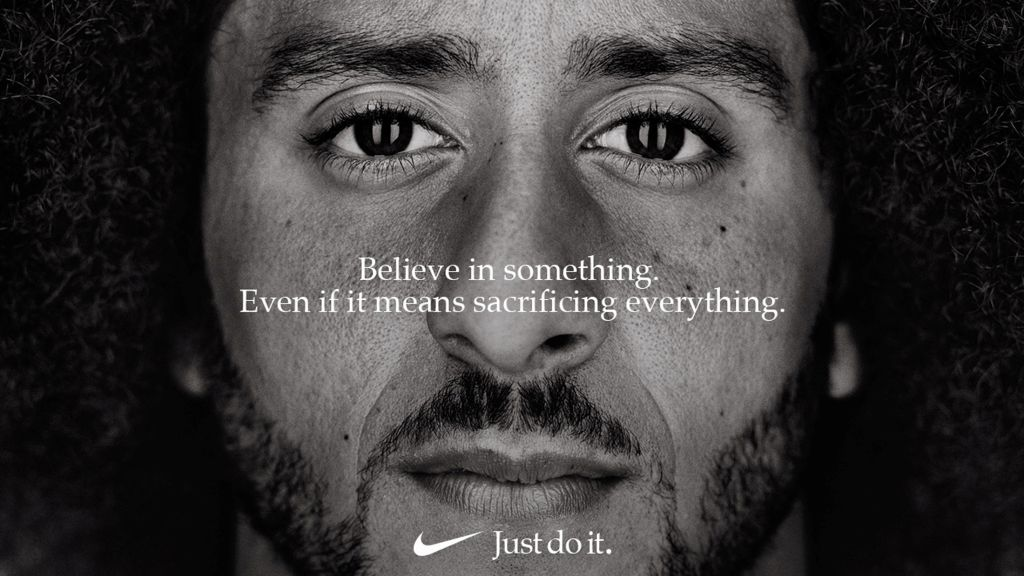 Former San Francisco quarterback Colin Kaepernick appears as a face of Nike Inc advertisement marking the 30th anniversary of its