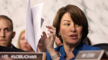 US Senator Amy Klobuchar speaks during the confirmation hearing.