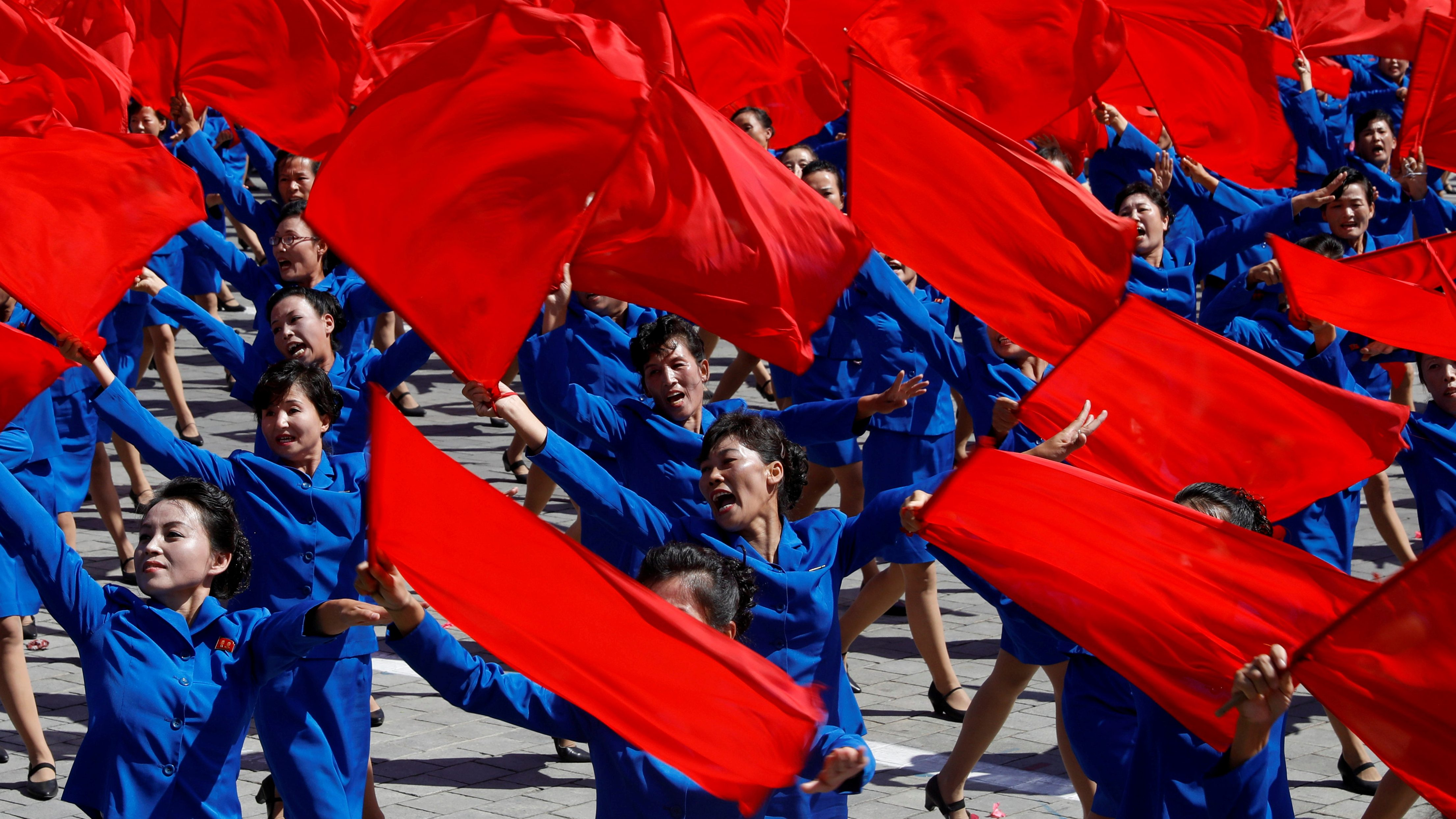 People perform during a military parade marking the 70th anniversary of North Korea's foundation in Pyongyang, North Korea, September 9, 2018. REUTERS/Danish Siddiqui TPX IMAGES OF THE DAY - RC13FDB8A790