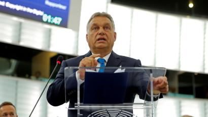 Hungarian Prime Minister Viktor Orban addresses MEPs during a debate on the situation in Hungary at the European Parliament.