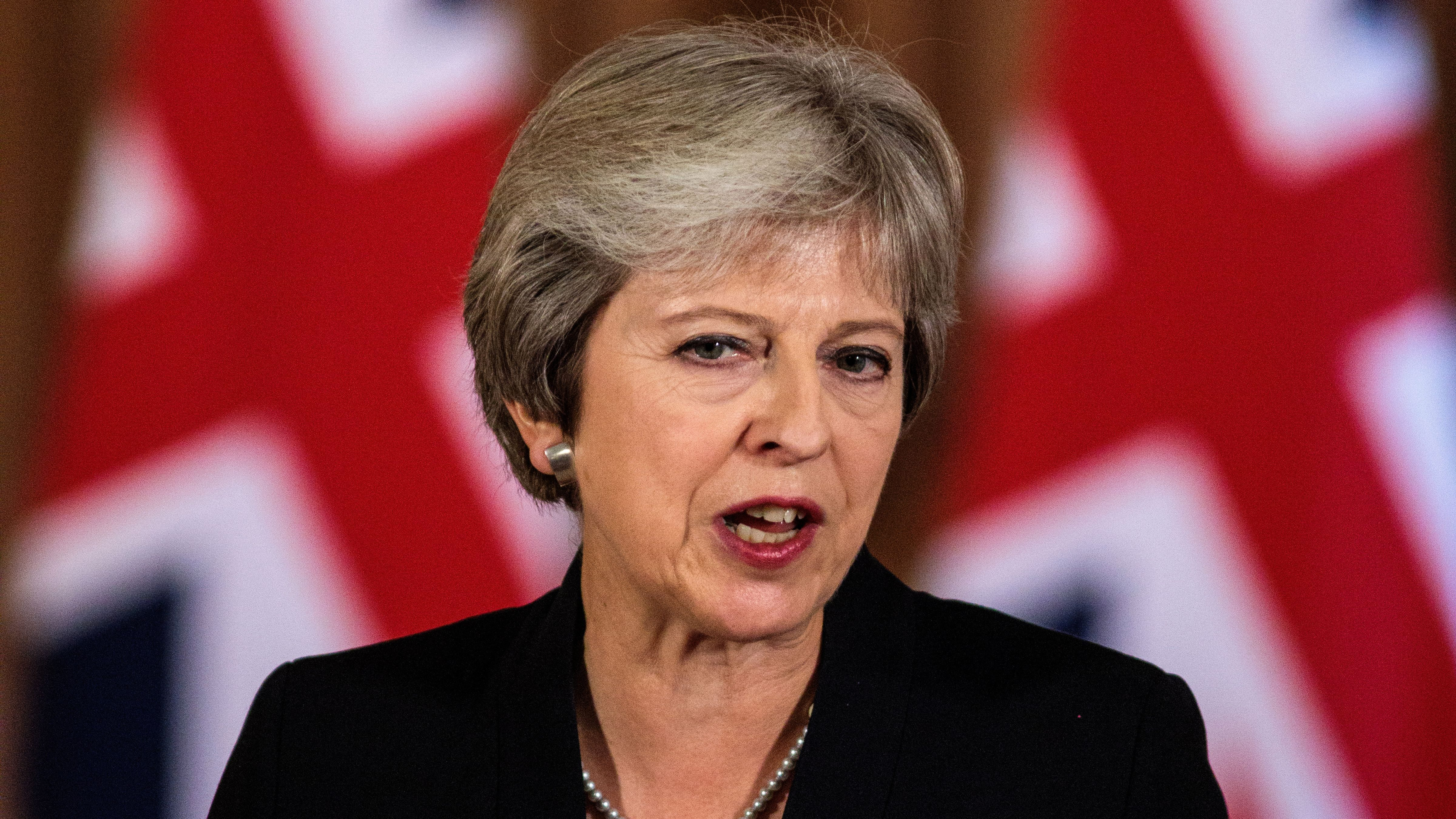 Britain's Prime Minister Theresa May makes a statement.