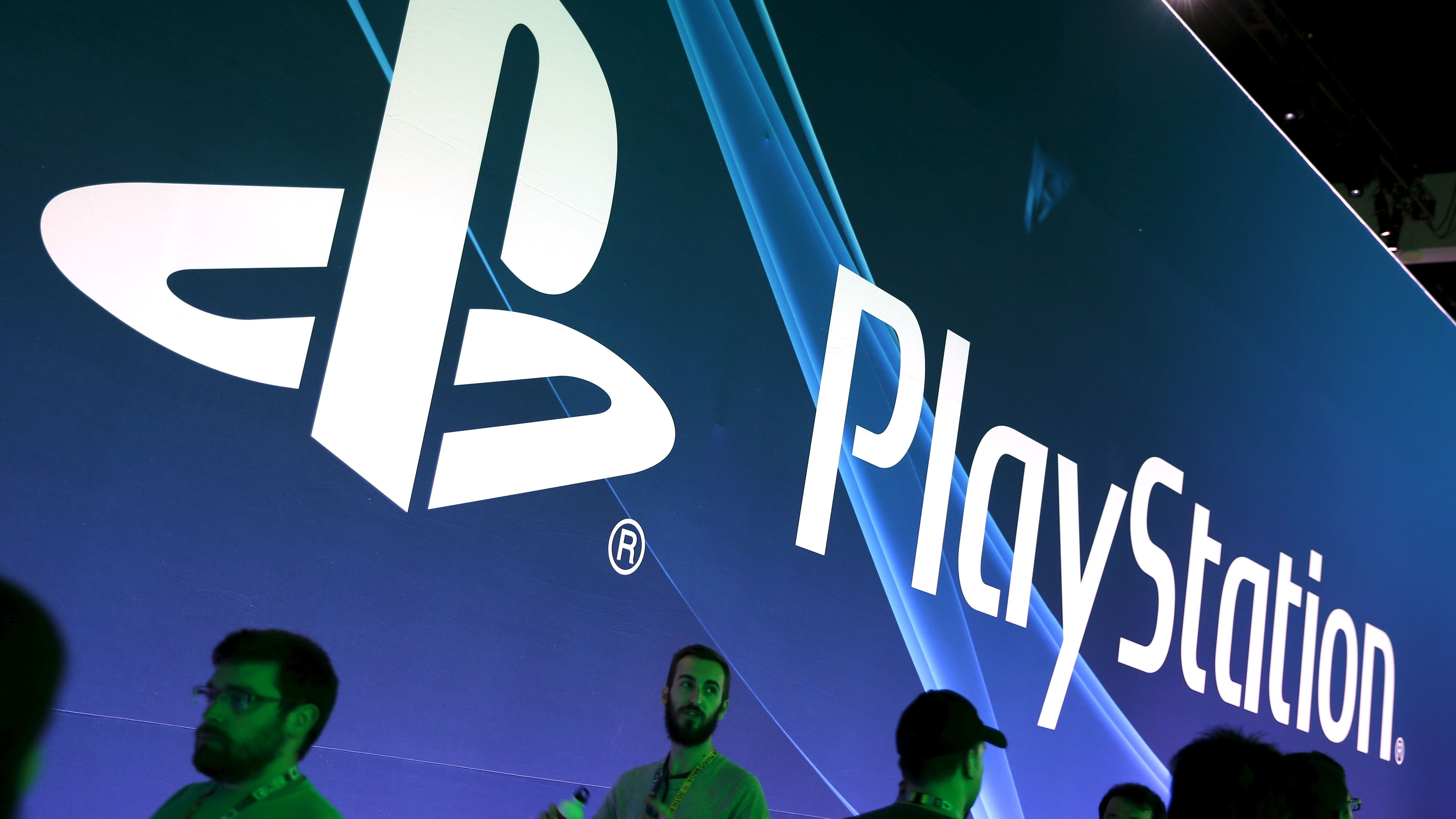 A Sony PlayStation video game logo is seen at the Electronic Entertainment Expo.