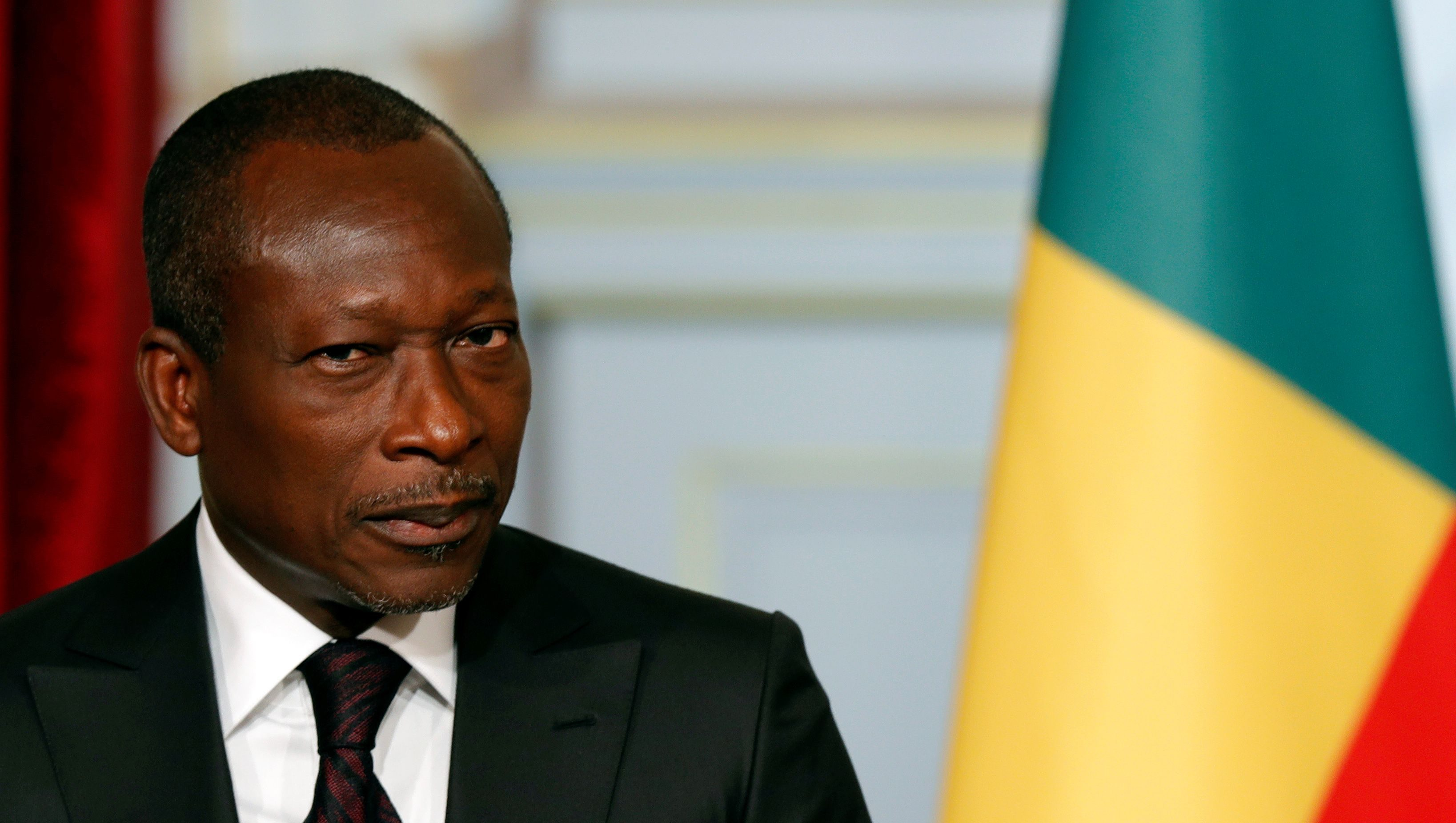 Benin's President Patrice Talon attends a joint declaration with French President at the Elysee Palace in Paris, France, April 26, 2016.