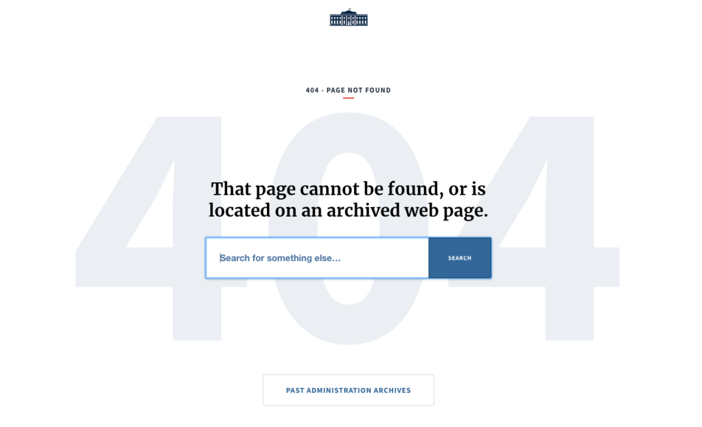 Donald Trump White House website deleted material