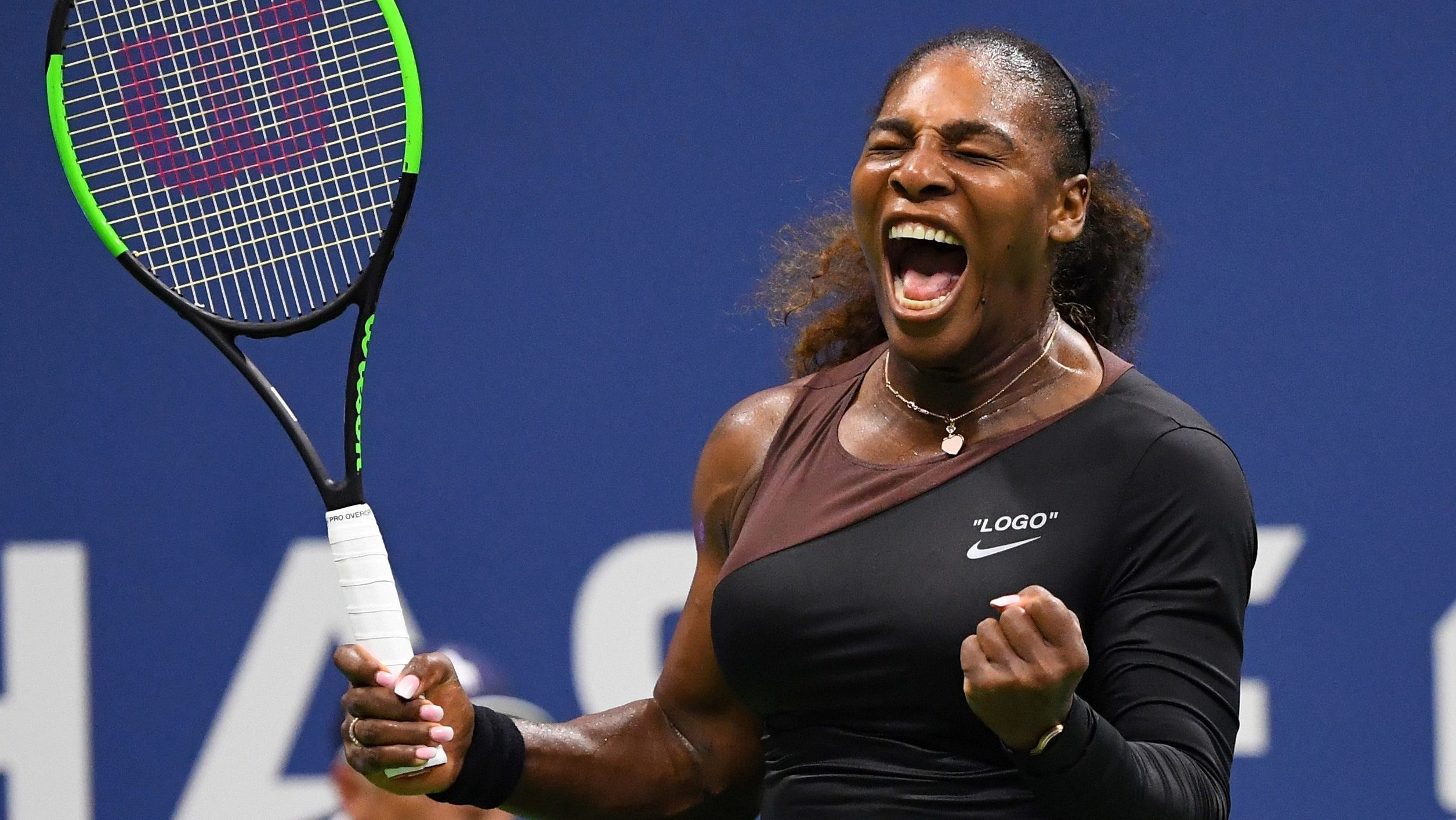Serena Williams celebrates a win against Magda Linette of Poland in a first round match on day one of the 2018 U.S. Open tennis tournament at USTA Billie Jean King National Tennis Center, on August 27, 2018.