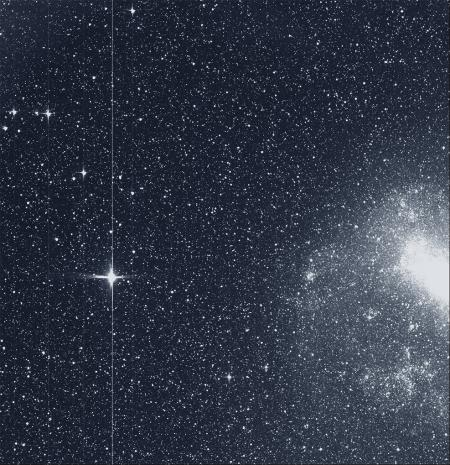 "The Transiting Exoplanet Survey Satellite (TESS) took this snapshot of the Large Magellanic Cloud (right) and the bright star R Doradus (left) with just a single detector of one of its cameras on Tuesday, Aug. 7. The frame is part of a swath of the southern sky TESS captured in its ""first light"" science image as part of its initial round of data collection."
