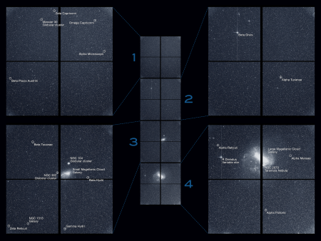 "The Transiting Exoplanet Survey Satellite (TESS) captured this strip of stars and galaxies in the southern sky during one 30-minute period on Tuesday, Aug. 7. Created by combining the view from all four of its cameras, this is TESS's ""first light,"" from the first observing sector that will be used for identifying planets around other stars. Notable features in this swath of the southern sky include the Large and Small Magellanic Clouds and a globular cluster called NGC 104, also known as 47 Tucanae. The brightest stars in the image, Beta Gruis and R Doradus, saturated an entire column of camera detector pixels on the satellite's second and fourth cameras. Labeled"