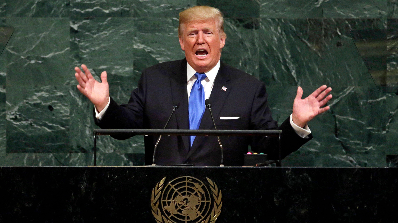 Trump at the UN podium gesturing wildly