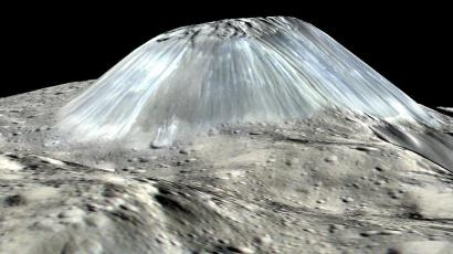 Simulated perspective of Ahuna Mons.