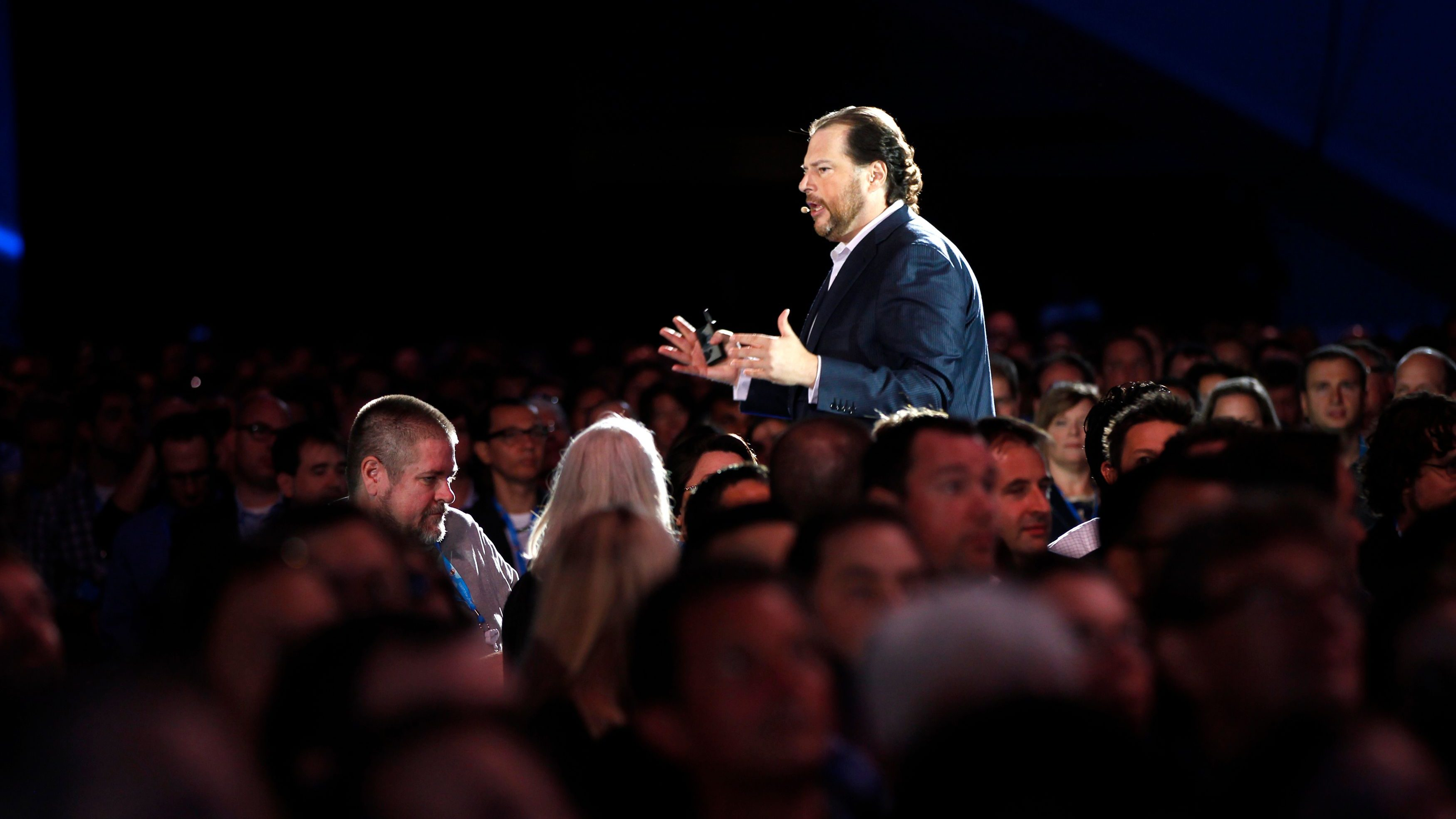 Salesforce CEO Marc Benioff speaks to the crowd during the Dreamforce event in San Francisco, California September 19, 2012.