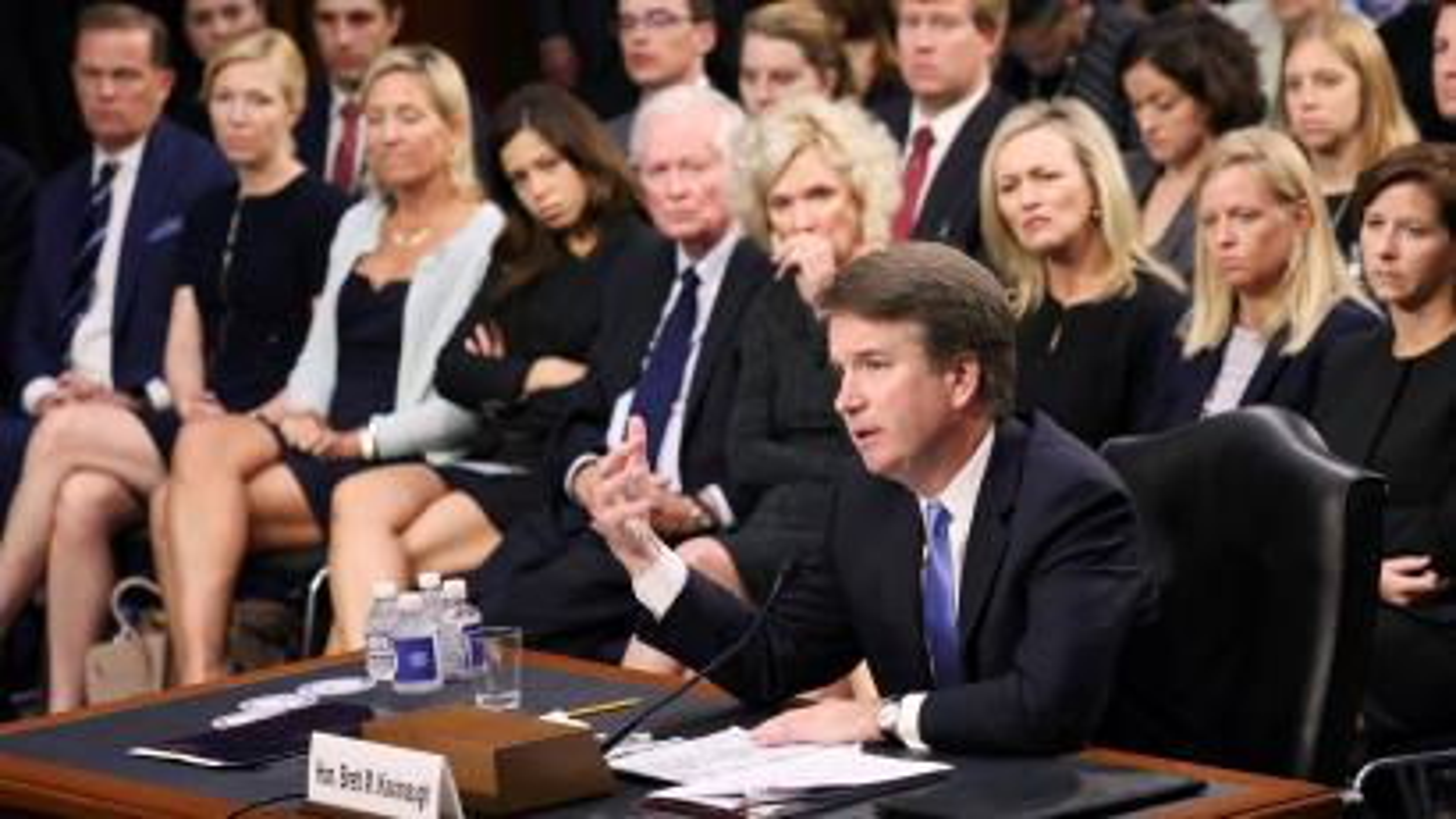 US Supreme Court nominee judge Brett Kavanaugh testifies.