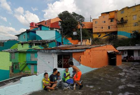 colorful slums in Medellin