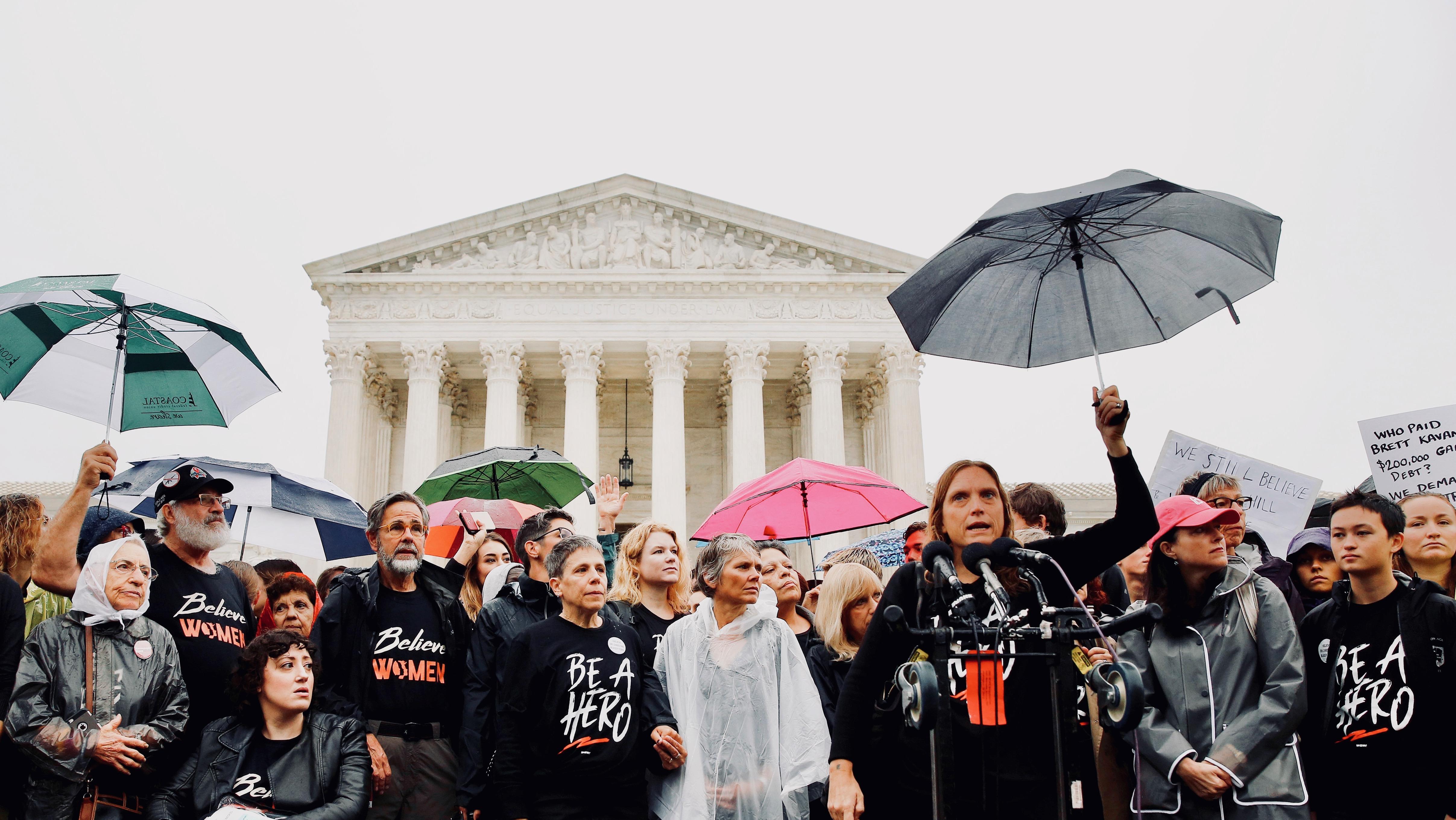 Demonstrators take part in a protest against US Supreme Court nominee Brett Kavanaugh.