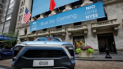 The NIO ES8, all-electric full-size sport utility vehicle is displayed in front of the New York Stock Exchange (NYSE) to celebrate the company's initial public offering (IPO) in New York, U.S., September 12, 2018.