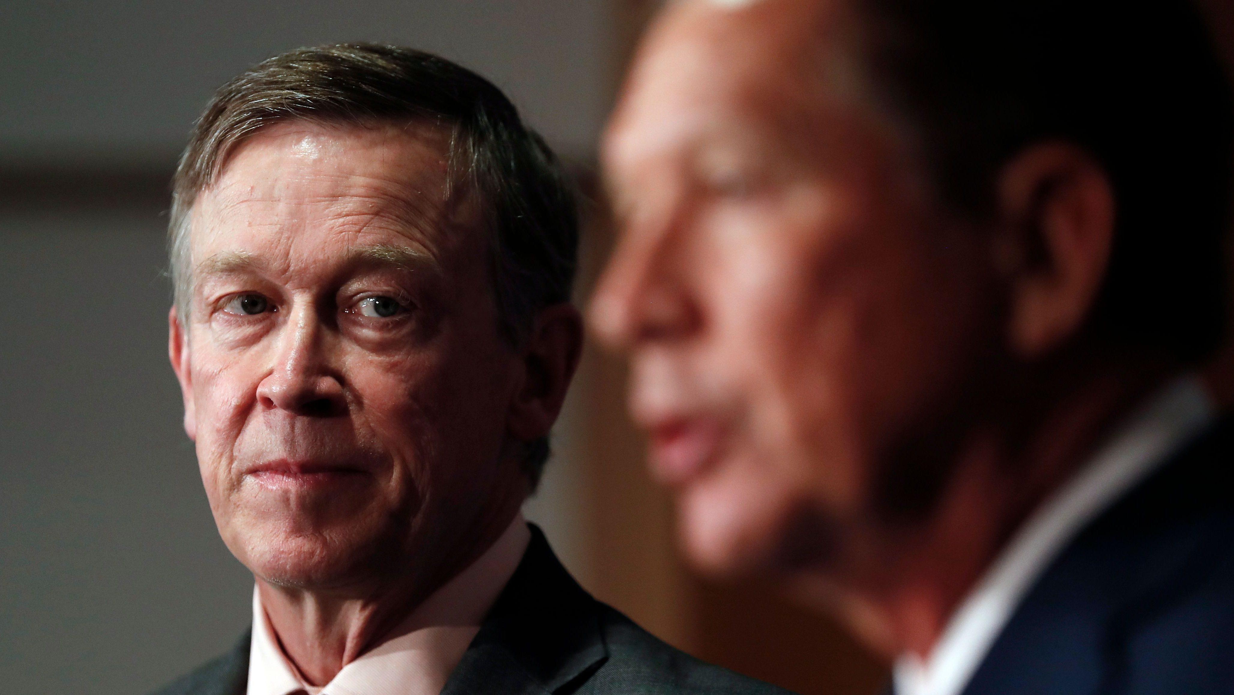 Colorado Gov. John Hickenlooper looks to Ohio Gov. John Kasich
