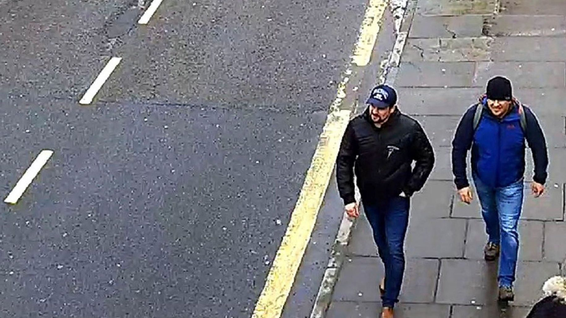 This still taken from CCTV and issued by the Metropolitan Police in London on Wednesday Sept. 5, 2018, shows Ruslan Boshirov and Alexander Petrov on Fisherton Road, Salisbury, England on March 4, 2018.