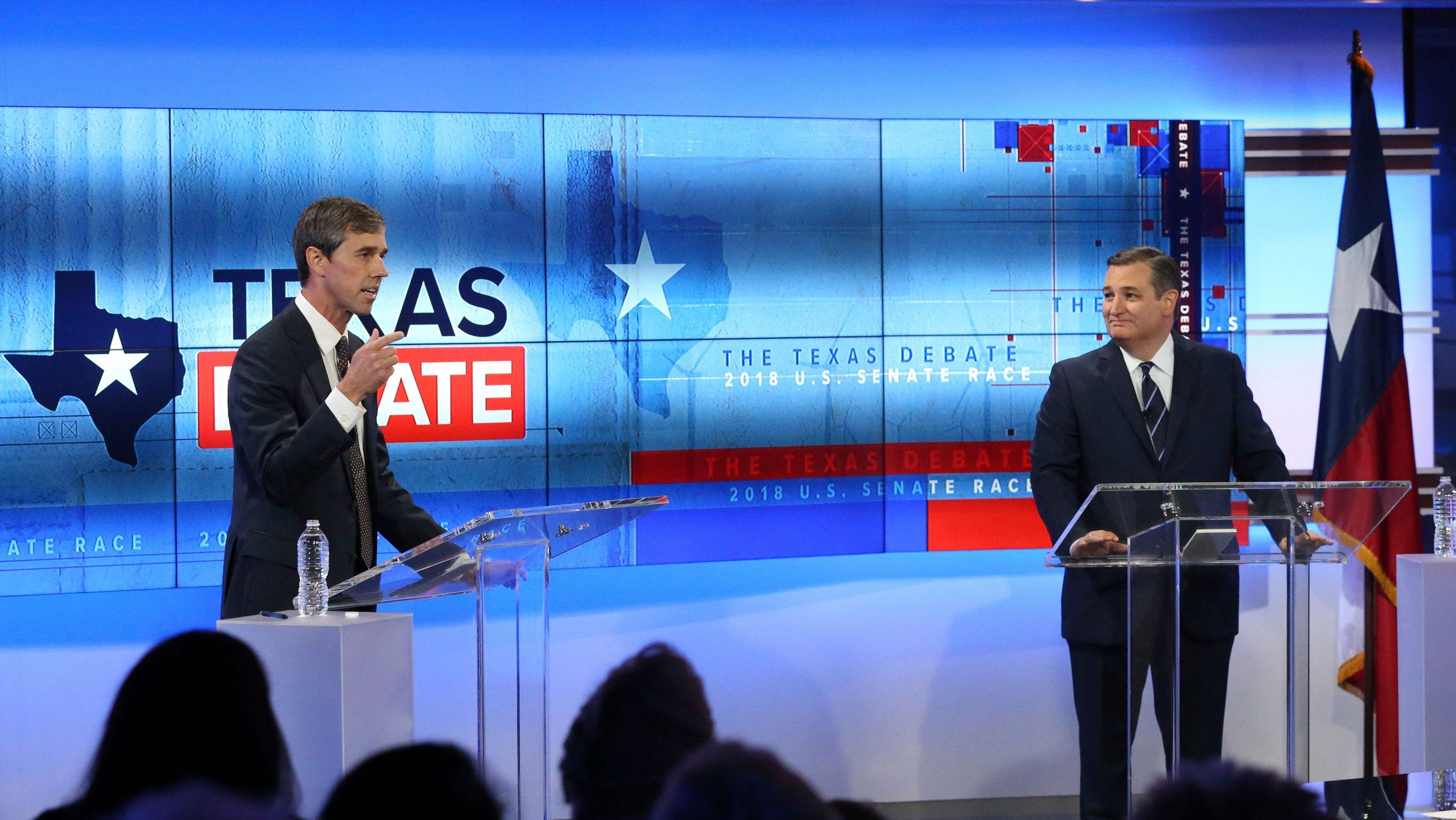 U.S. Rep. Beto O'Rourke, D-Texas, left, and U.S. Sen. Ted Cruz, R-Texas, right, take part in a debate for the Texas U.S. Senate