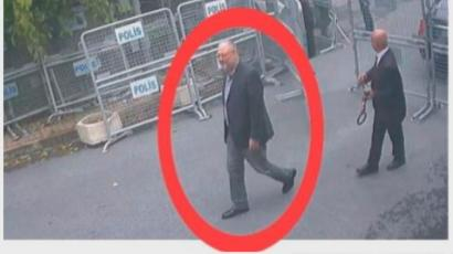 This image taken from CCTV video obtained by the Turkish broadcaster TRT World and made available on Sunday, Oct. 21, 2018, purportedly showing Saudi journalist Jamal Khashoggi entering the Saudi consulate in Istanbul, Tuesday, Oct. 2, 2018.