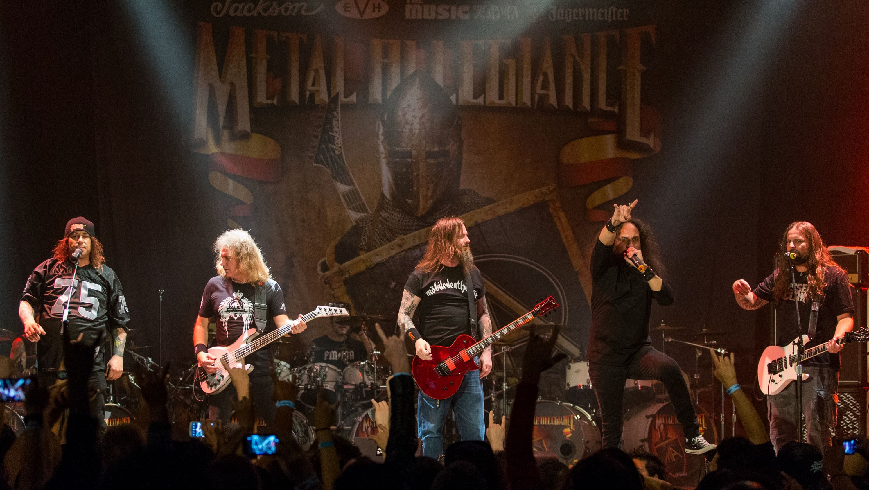 From left Steve Souza, of Exodus, David Ellefson, of Megadeth, Gary Holt, of Exodus, Mark Osegueda, of Death Angel, and Andreas Kisser, of Sepultura, perform on stage during the Metal Allegiance concert at the House of Blues on Wednesday, Jan. 21, 2015, in Anaheim, Calif. (Photo by Paul A. Hebert/Invision/AP)