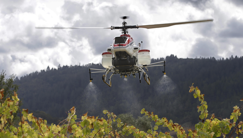 drone spraying crops on a farm