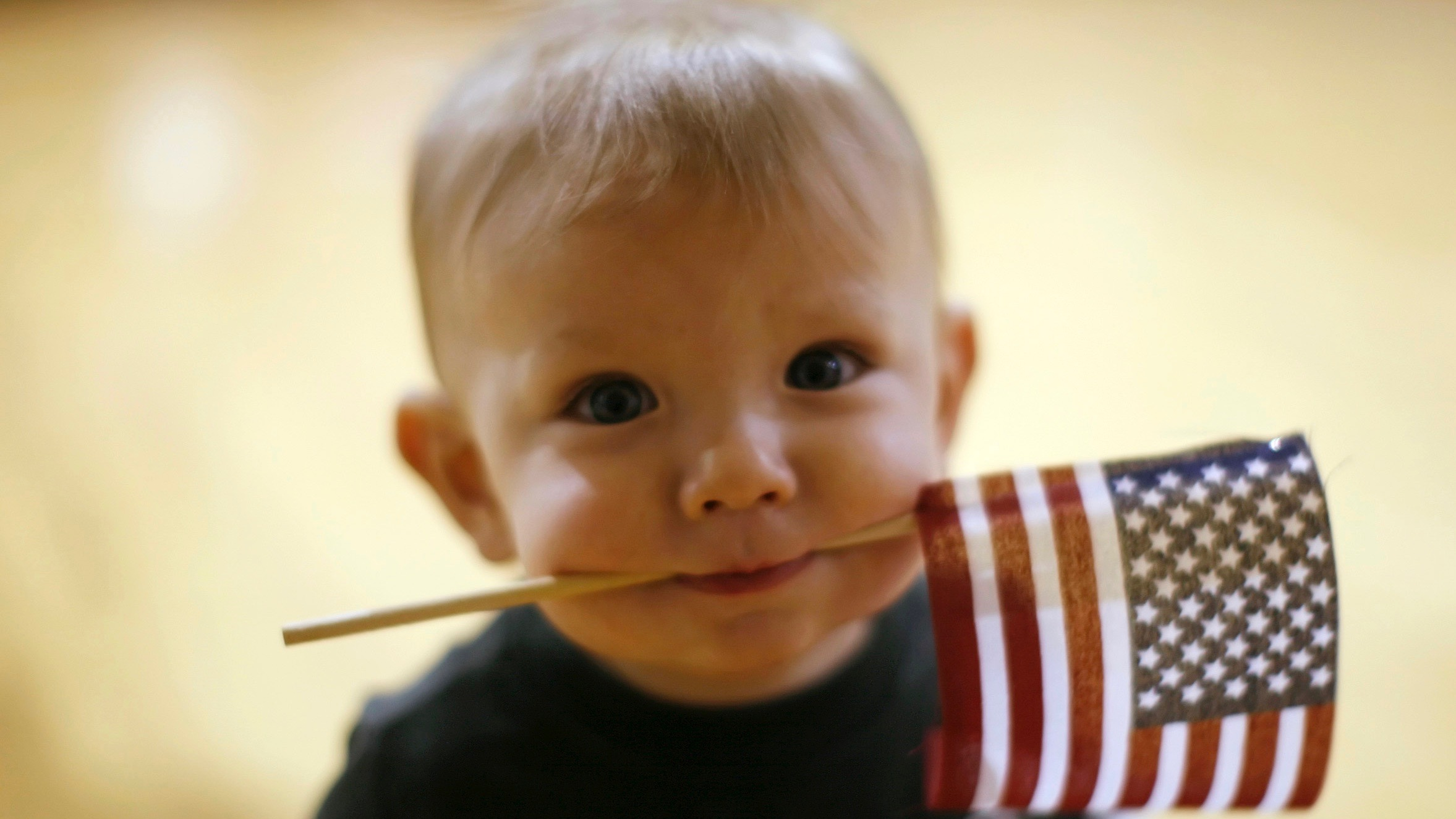 Baby with US flag.