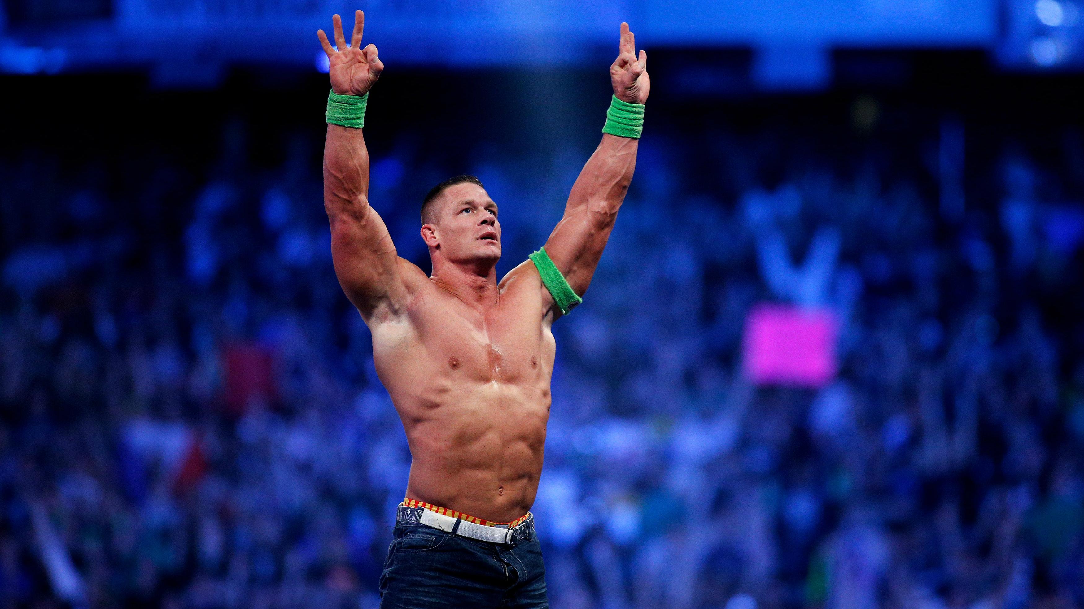 The wrestler John Cena after winning a match