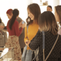 Students chatting over at the Dior jewelry counter during the one-day shopping event.