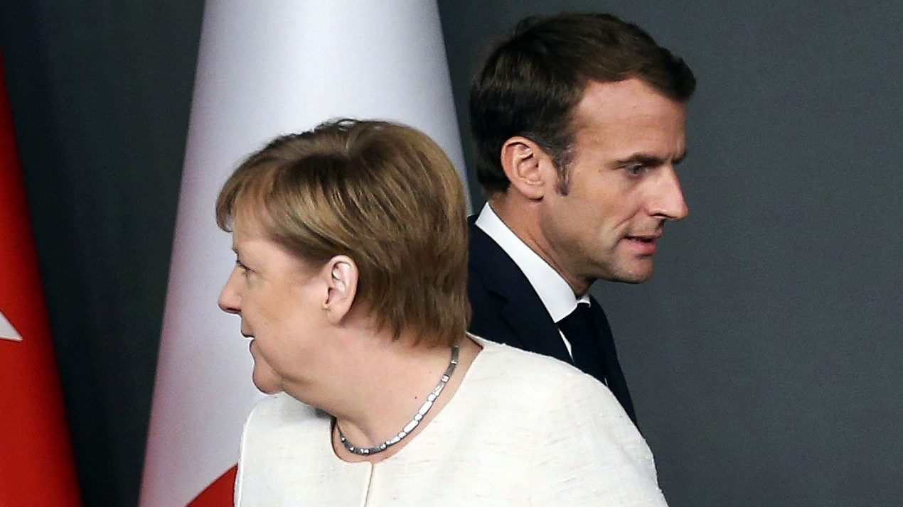 German Chancellor Angela Merkel and French President Emmanuel Macron are seen at a news conference after a Syria summit in October.