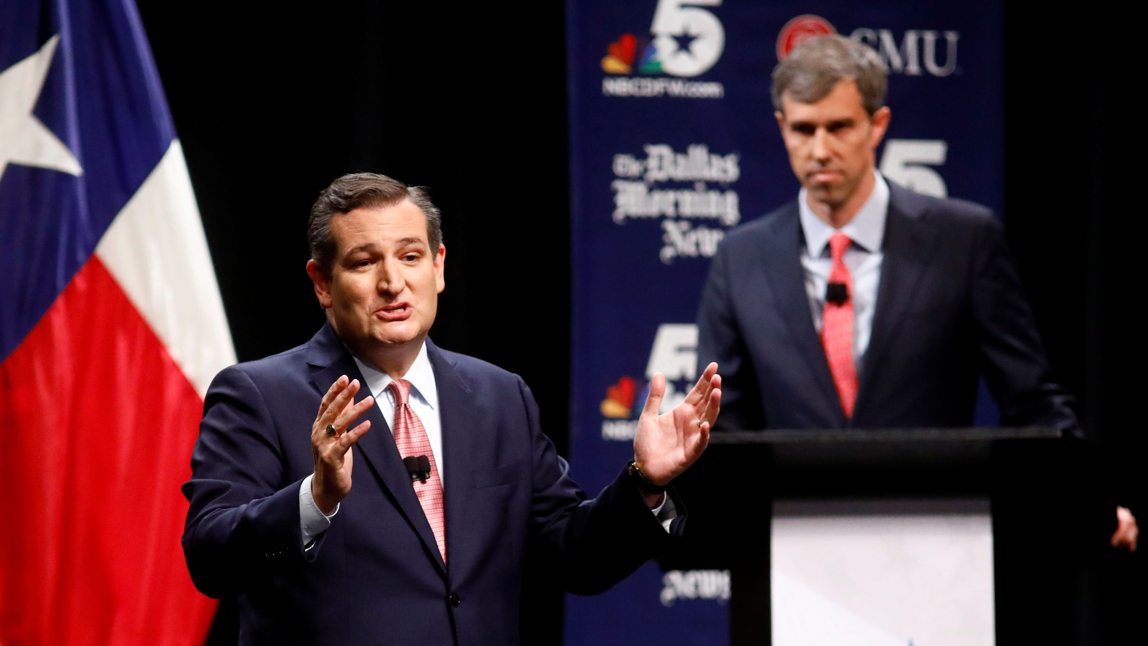 Sen. Ted Cruz (R-TX) makes his final remarks as Rep. Beto O'Rourke (D-TX)