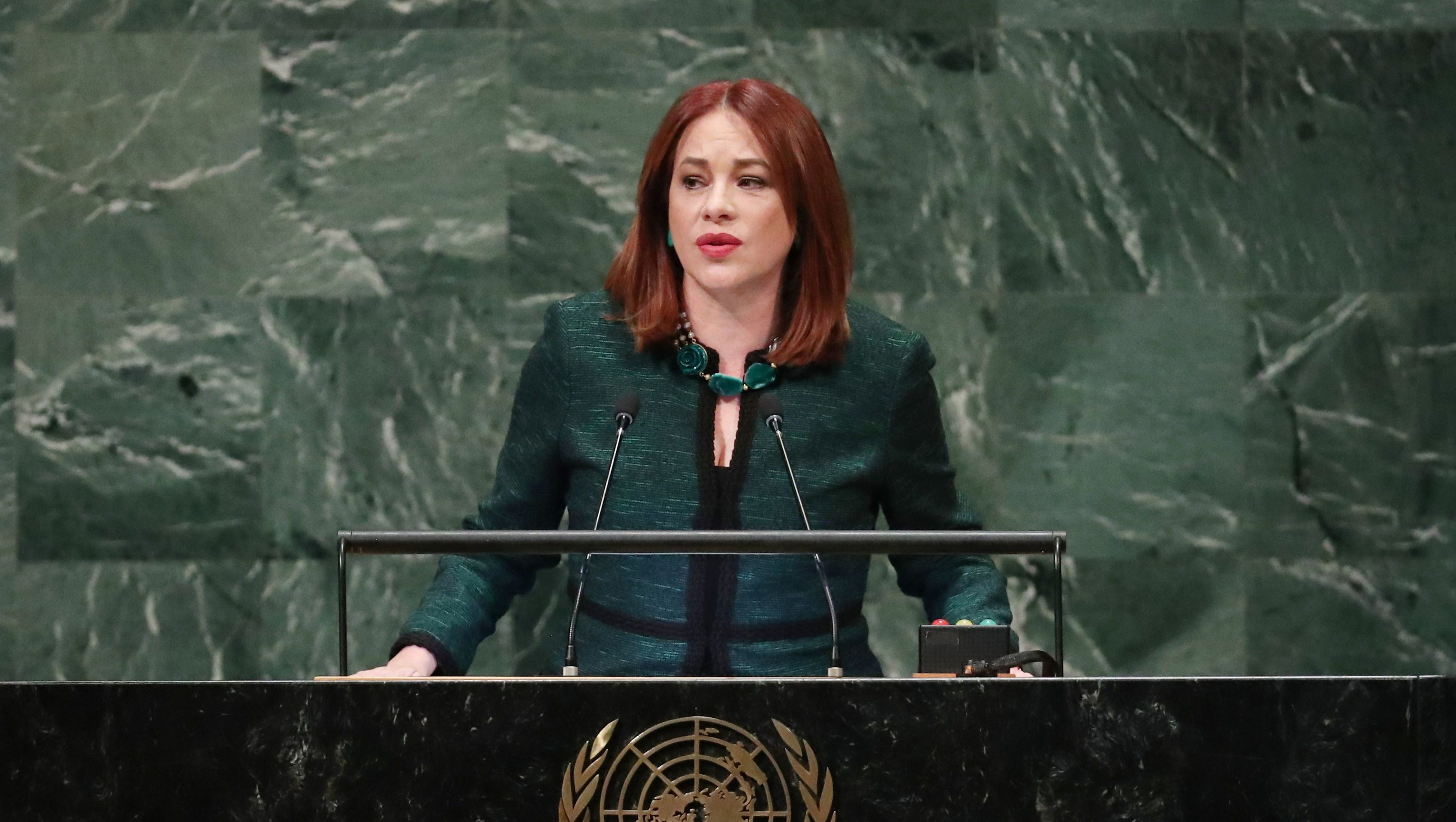 United Nations General Assembly President Maria Fernanda Espinosa Garces addresses the 73rd session of the United Nations General Assembly at U.N. headquarters in New York, U.S., September 25, 2018.