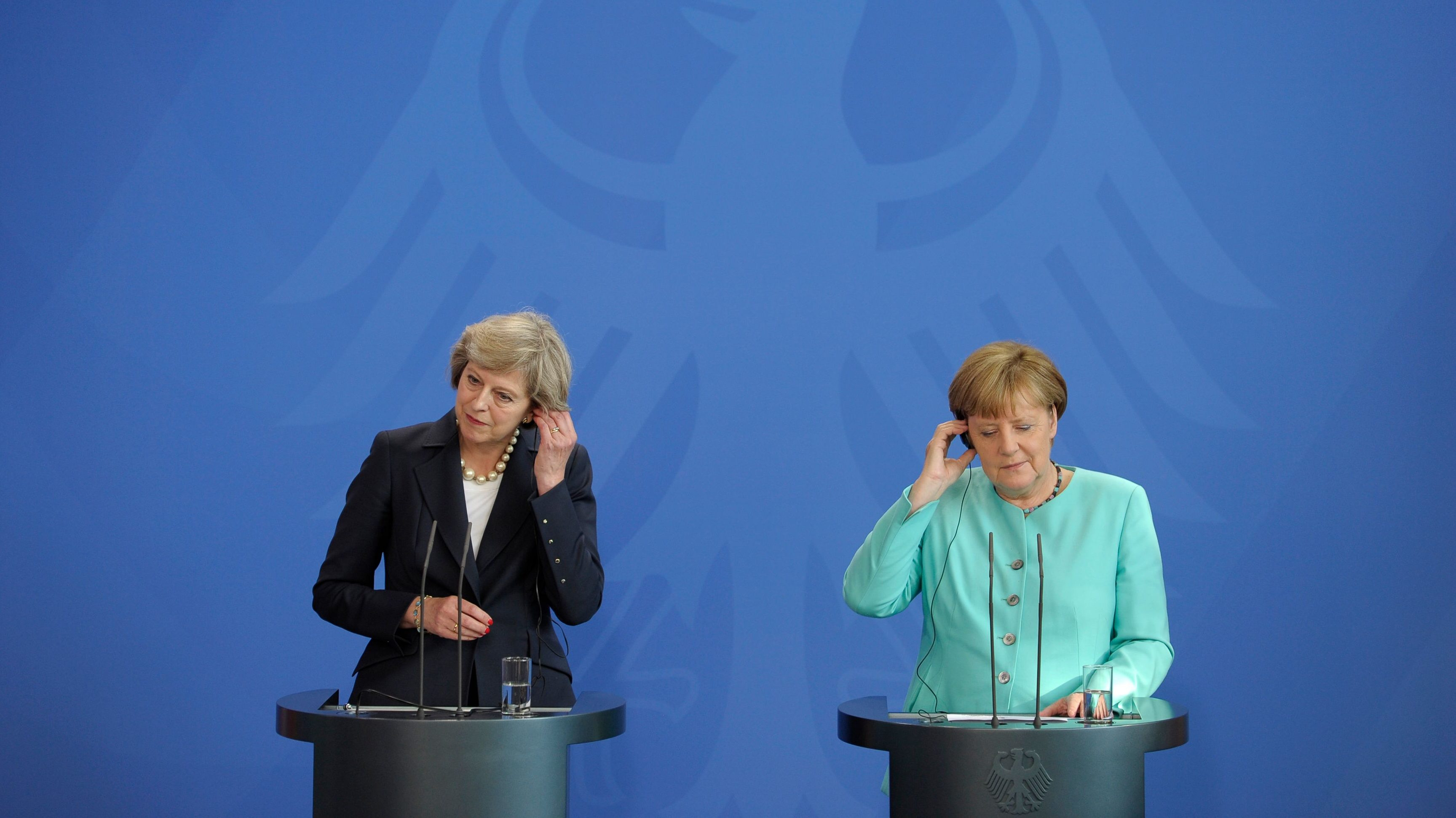 German Chancellor Angela Merkel and British Prime Minister Theresa May.