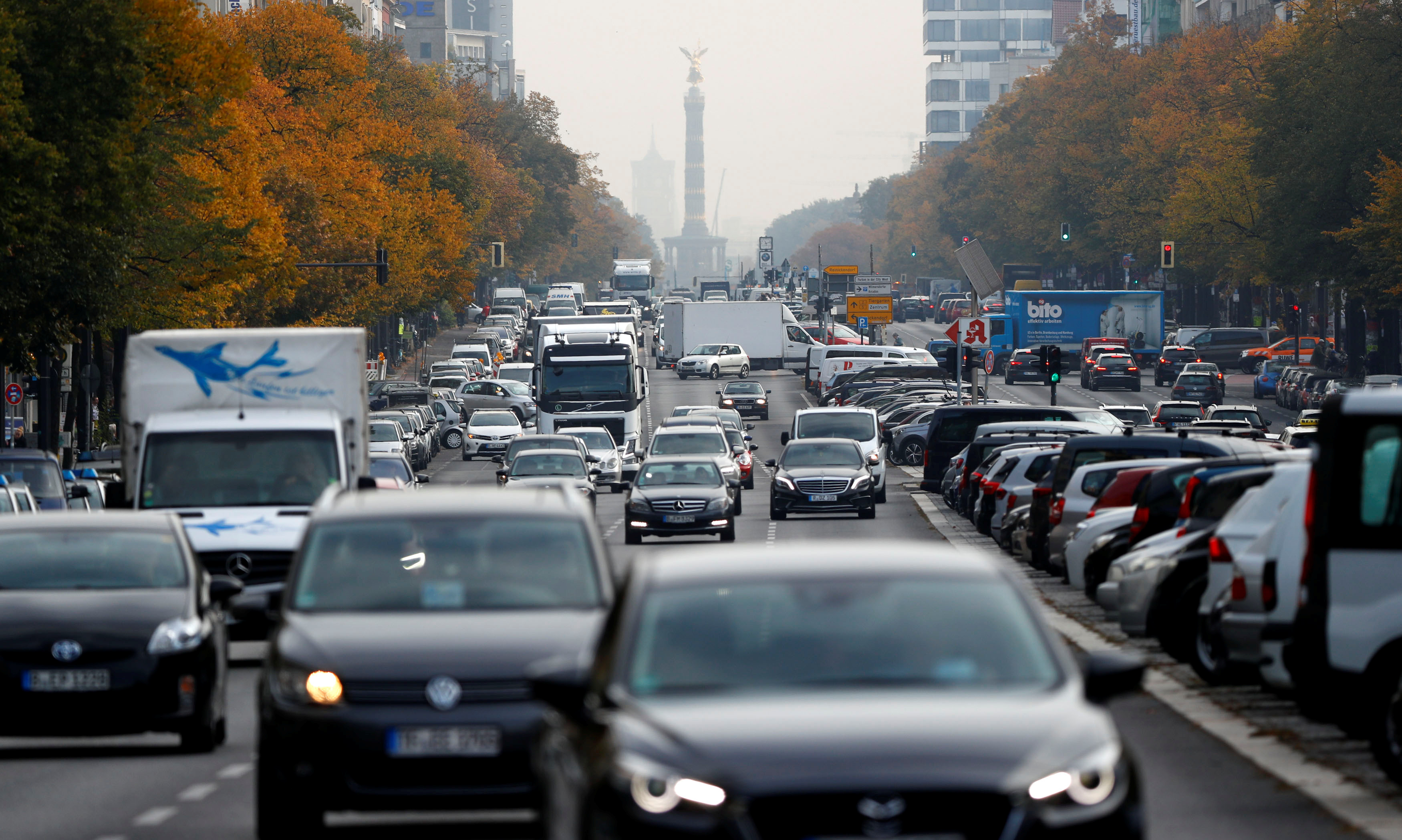 Cars are seen at Kaiserdamm street, which could be affected by a court hearing on case seeking diesel cars ban in Berlin, Germany,