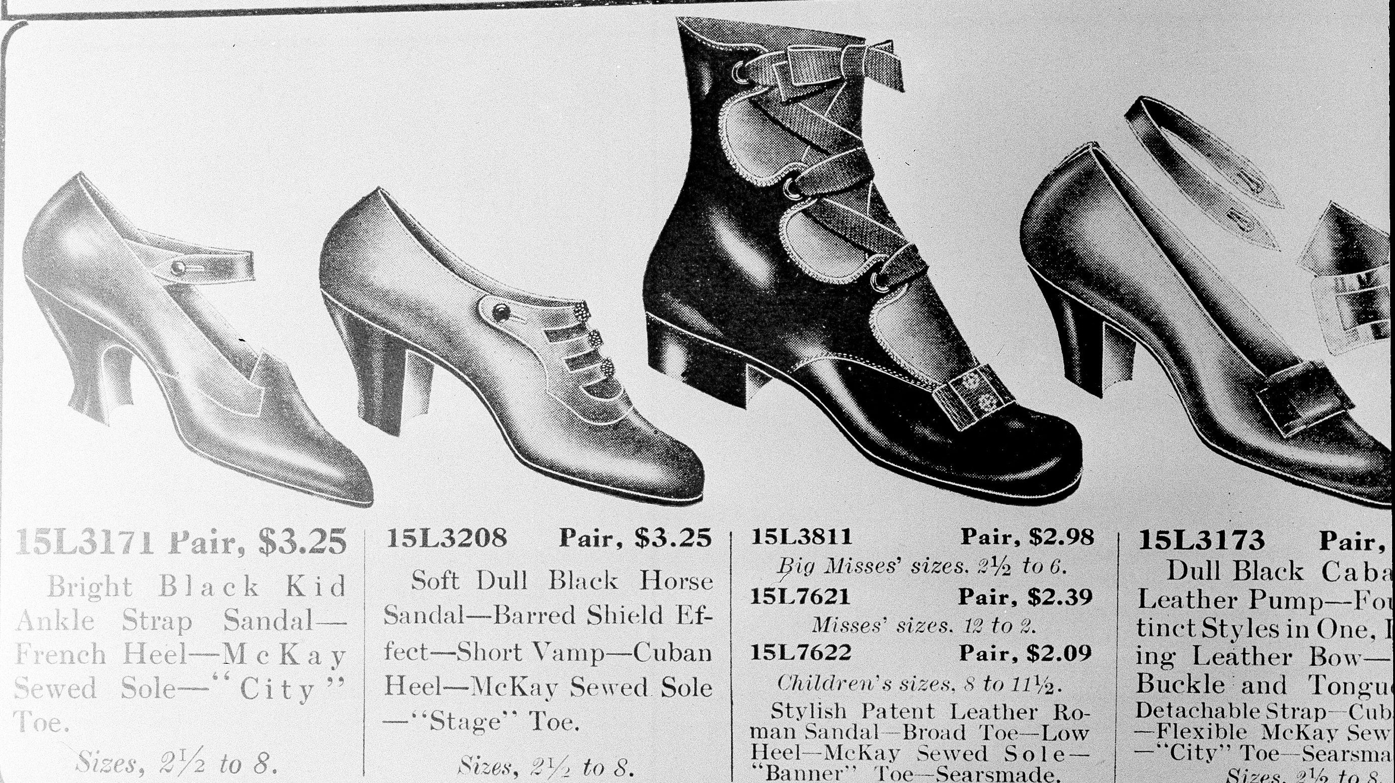 A photo of shoes from a vintage sears catalogue
