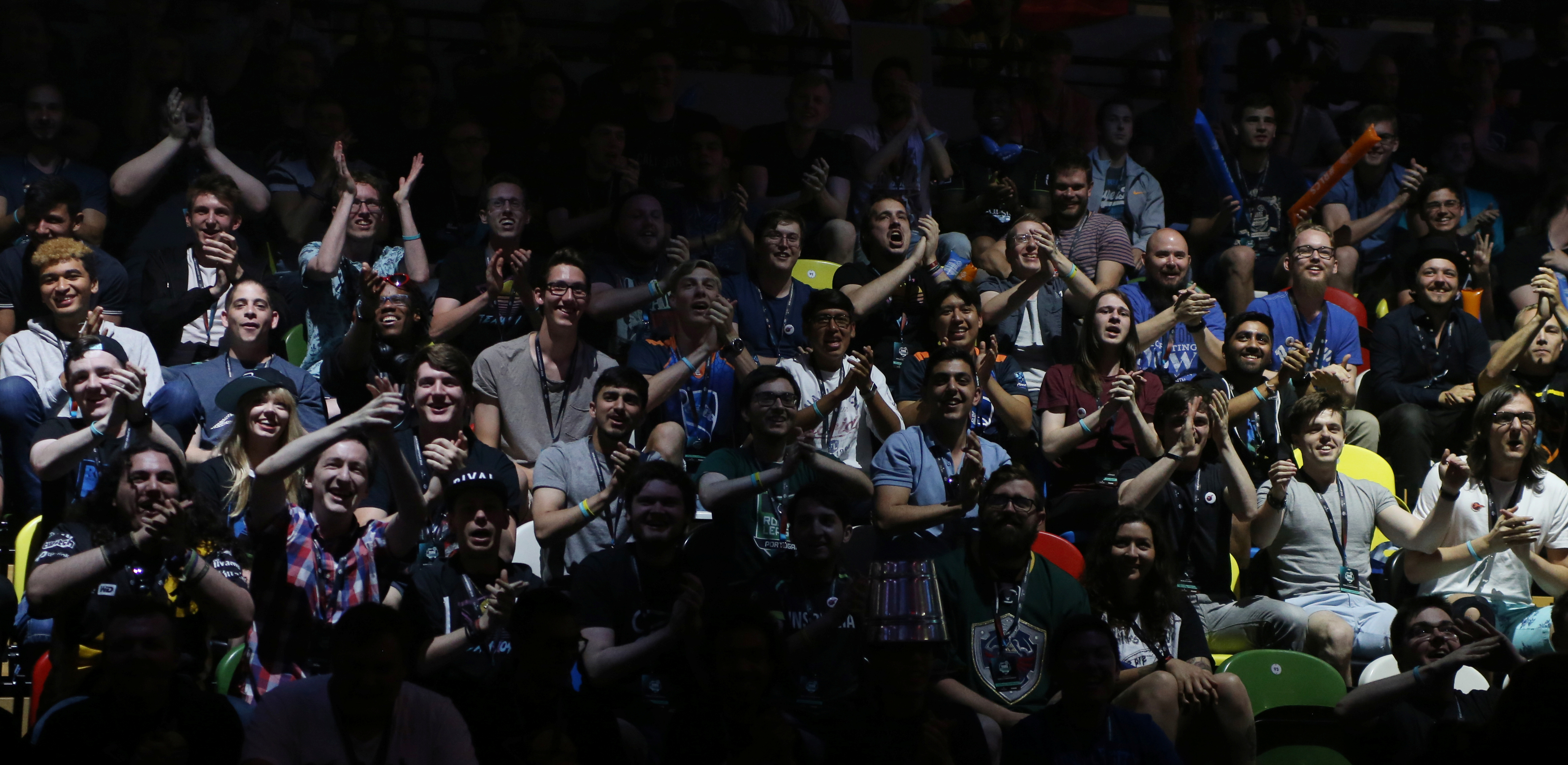 Fans cheer on day two of the Rocket League Championship Series Finals in London, Britain in June.