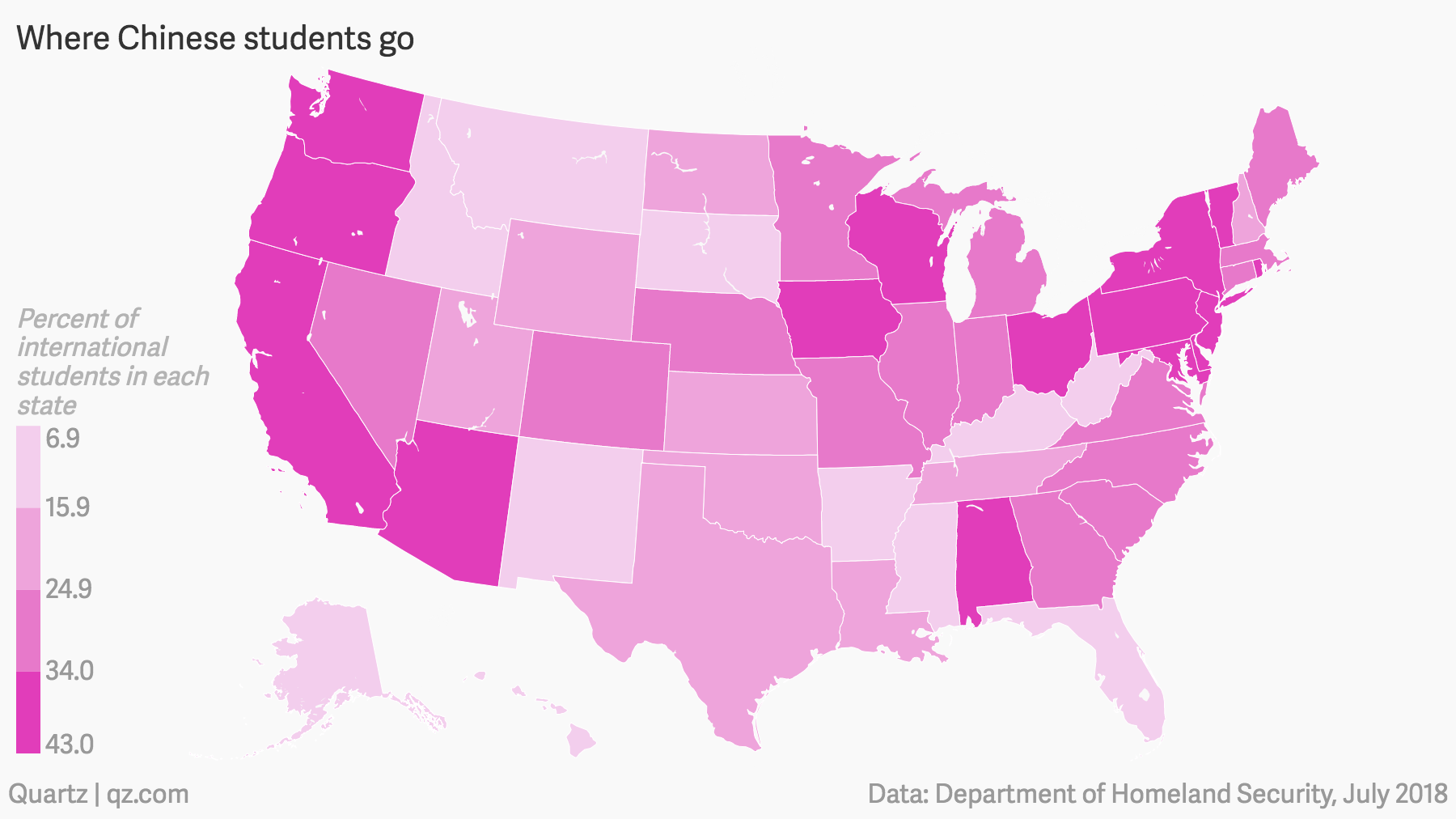 Where Chinese students go in the US