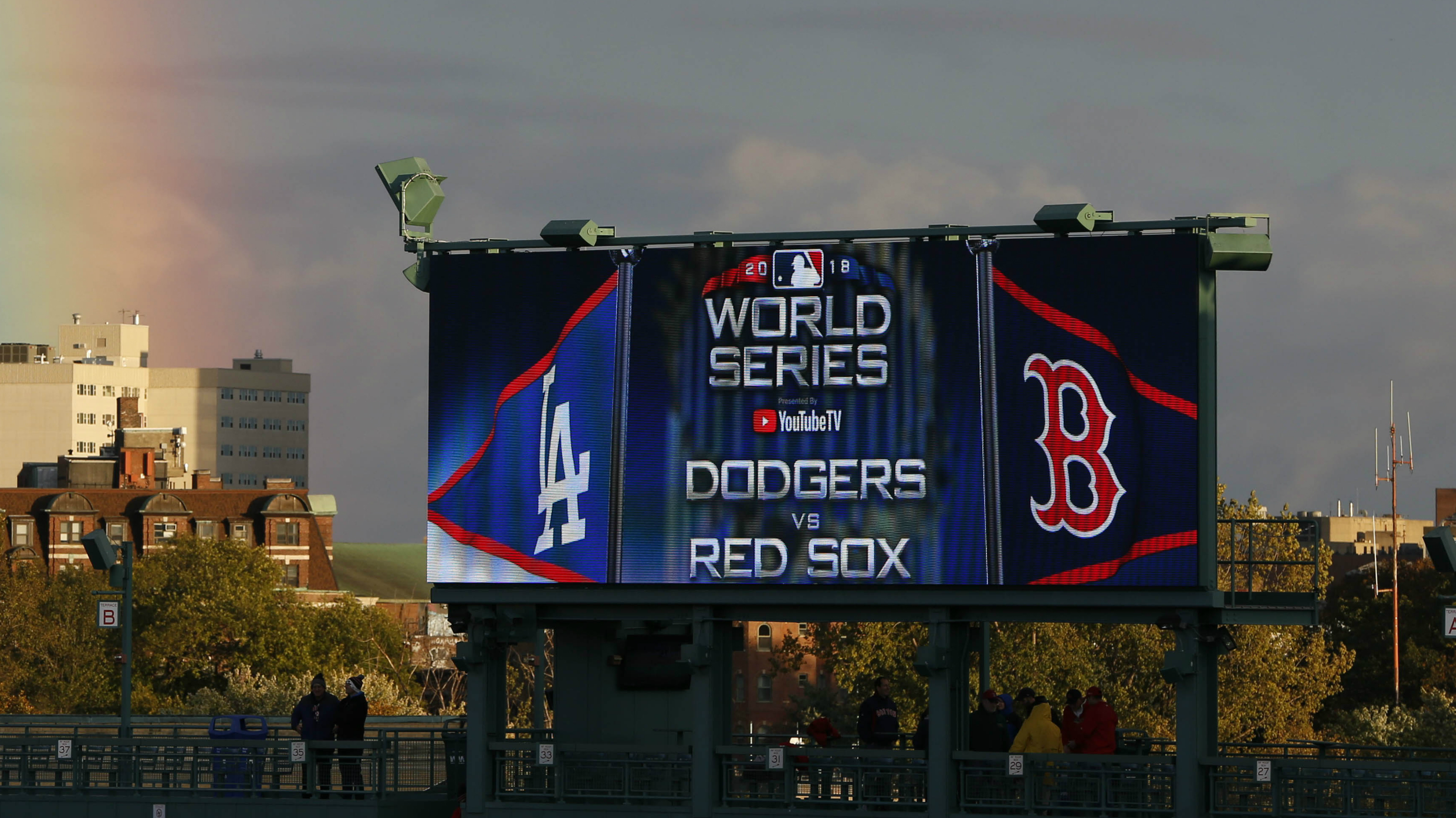 A billboard with the names of the teams playing in the 2018 World Series.