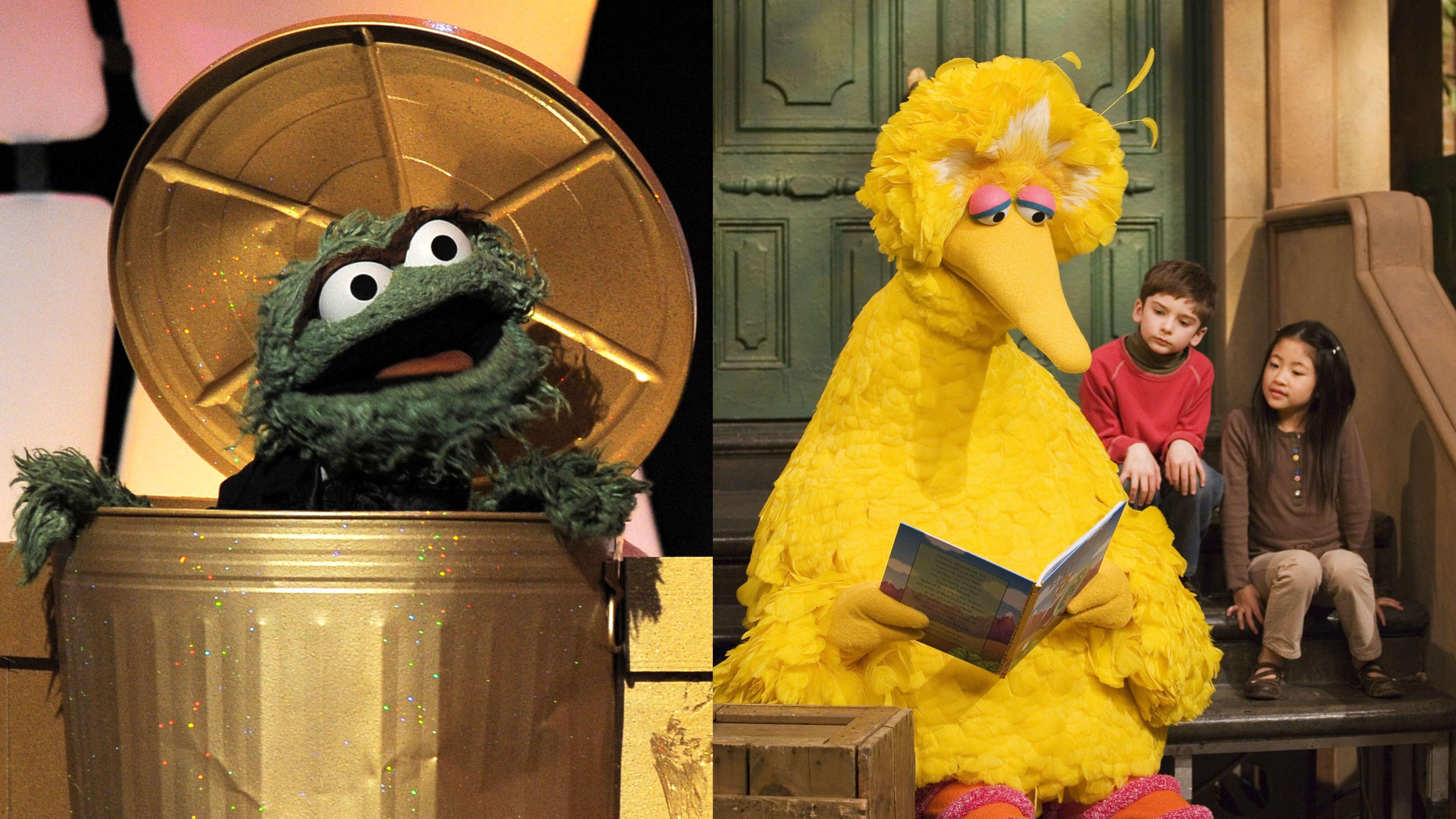 Sesame Street characters Big Bird and Oscar the Grouch.