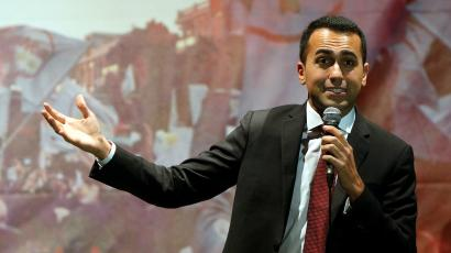 5-Star Movement leader Luigi Di Maio speaks to supporters in Pomigliano D'Arco, Italy