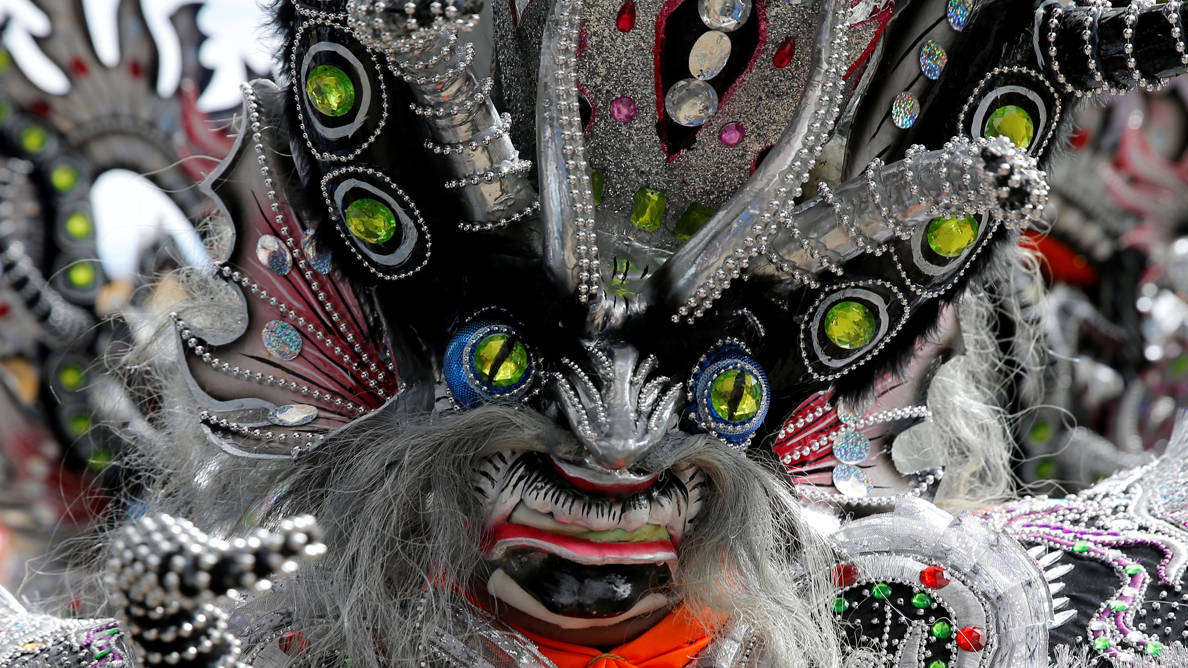 A mask of a devil is seen at the carnival parade in Oruro, Bolivia.