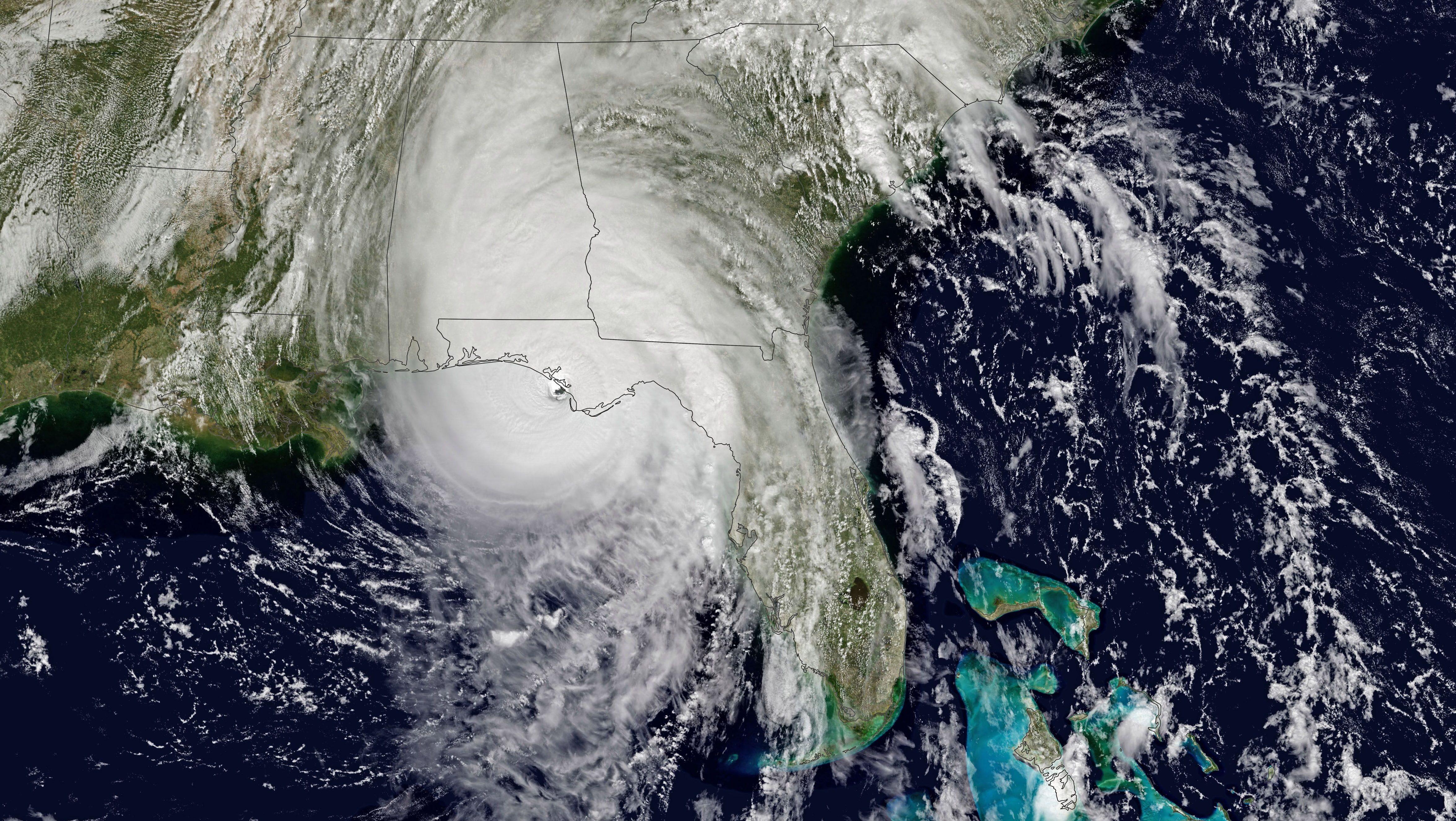 NASA satellite image of Hurricane Michael hitting Florida